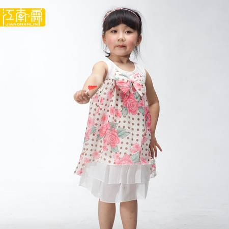 江南霖童装女童浪漫印花蕾丝气质背心裙连衣裙JAXS4104