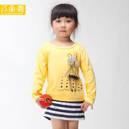 江南霖童装夏季女童全棉可爱兔子横条连衣裙JACZ4104