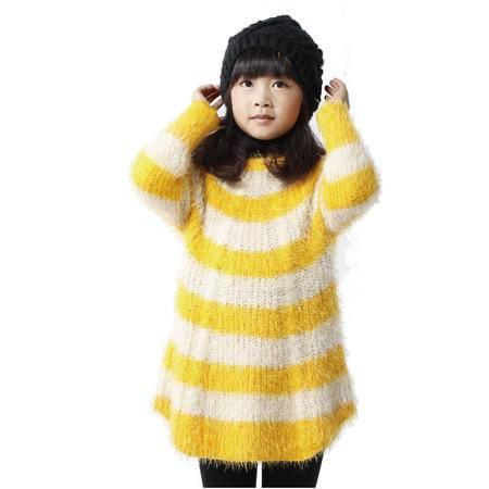 江南.霖童装 秋冬款女童长袖横条长款宽松拼色毛衣 黄色西瓜红  JAQZ0424