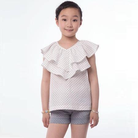 江南霖童装女童印花圆点双层领公主风荷叶领T恤JBXS0302