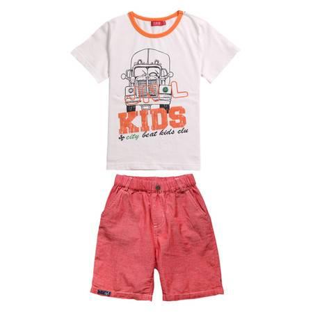 江南霖童装 男童夏季新款 全棉水洗T恤短裤套装 两件套 JBXZ2305