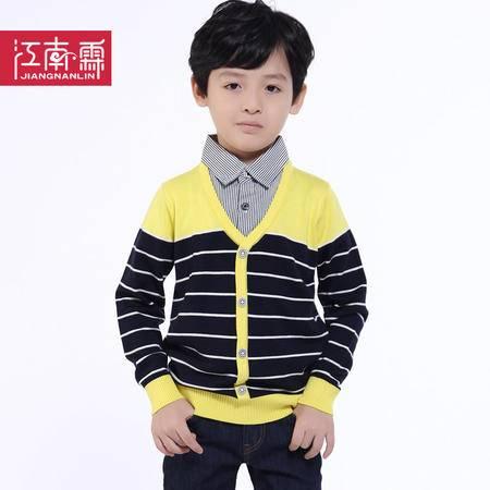 江南霖童装 秋冬款 男童衬衫领假两件羊毛衫 JBQZ0425