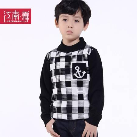江南霖童装 秋冬款 男童方格圆领羊毛衫 JBDZ0421
