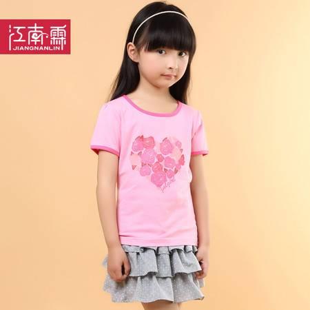 江南霖童装夏季新品女童糖果色全棉短袖T恤短裙套装玫瑰印花两件套TJCXZ0104