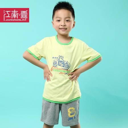 江南霖童装夏季新品男童全棉短袖T恤短裤套装摩托车印花两件套TJCXZ0123