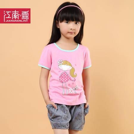 江南霖童装夏季新品女童糖果色全棉短袖T恤短裙套装卡通女孩两件套TJCXZ0106