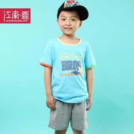 江南霖童装夏季新品男童全棉短袖T恤短裤套装棒球帽两件套TJCXZ0139
