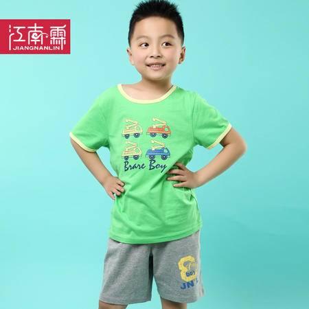 江南霖童装夏季新品男童全棉短袖T恤短裤套装汽车印花两件套TJCXZ0135