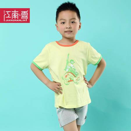 江南霖童装男童全棉短袖T恤短裤套装滑板印花两件套TJCXZ0117