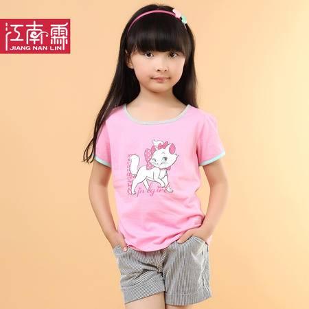 江南霖童装夏季新品女童糖果色全棉短袖T恤短裙套装猫咪印花两件套TJCXZ0130