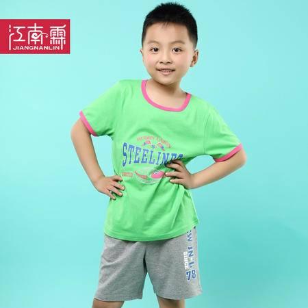 江南霖童装夏季男童全棉短袖T恤短裤套装橄榄球TJCXZ0129