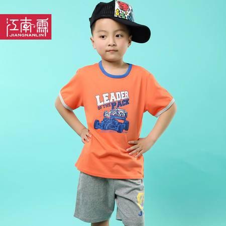 江南霖童装夏季男童全棉短袖T恤短裤套装赛车印花两件套TJCXZ0131