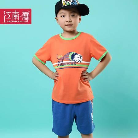 江南霖童装夏季新品男童全棉短袖T恤短裤套装足球印花两件套TJCXZ0127