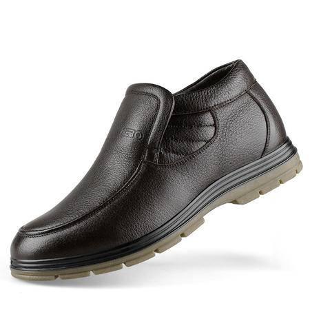 ZERO意大利零度套脚男靴头层牛皮真羊毛保暖棉鞋雪地靴 93083
