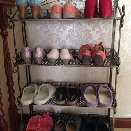 滢发 欧式 铁艺鞋架 鞋柜 四 层鞋架 换鞋架 置物架 客厅鞋架 收纳架 古青铜色