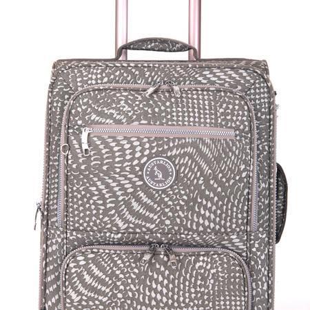 Austarlion澳洲袋鼠豹纹尼龙布料合金拉杆旅行箱36857灰色24寸