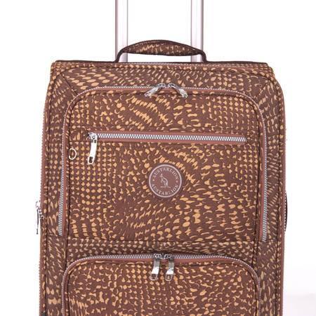 Austarlion澳洲袋鼠豹纹尼龙布料合金拉杆旅行箱36857卡其色24寸