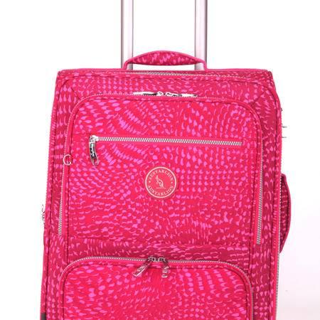 Austarlion澳洲袋鼠豹纹尼龙布料合金拉杆旅行箱36857红色24寸