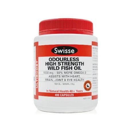 Swisse Odourless High Strength Wild Fish Oil 1500MG 深海鱼油软胶囊 400粒 X 2