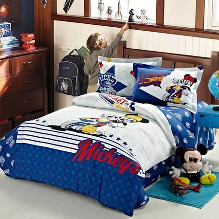 迪士尼 Disney 纯棉斜纹印花四件套-米奇炫酷车手