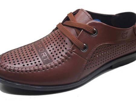 牛头牌男士休闲牛皮鞋 小孔透气镂空防汗 sport系带男鞋 夏季新款R5872