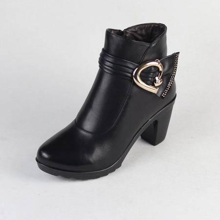 新款包邮专柜正品花牌女鞋时尚高跟粗跟女靴 保暖短靴气质真牛皮女靴HP318-6A36
