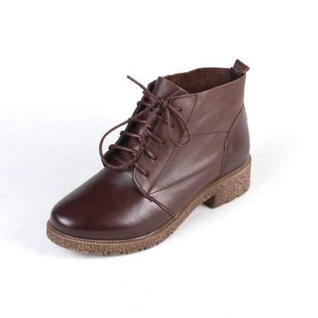 新款专柜正品花牌女短靴 时尚百搭休闲真皮女靴 头层牛皮系带耐磨防滑女靴3F3860-27