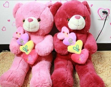ILOOP毛绒玩具泰迪熊心心相印连心熊表白熊情人节礼物朋友生日礼物 连心熊大号90cm