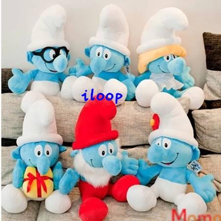 ILOOP新款蓝精灵毛绒玩具公仔一套/6只创意毛绒玩具节日礼物