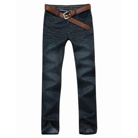 格斯帝尼 GESSDIMER春装新款牛仔裤 男士时尚英伦水洗直筒牛仔裤 蓝色牛仔裤 YLA12029