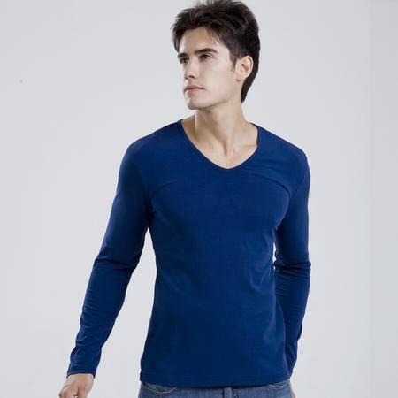 格斯帝尼  中国好声音同款 春装V领男士圆领长袖T恤 修身薄纯棉T恤YLT23332