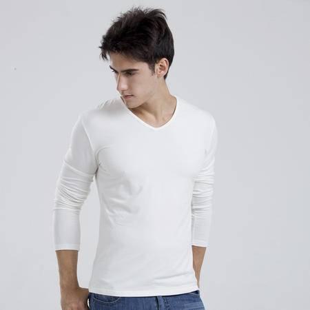 格斯帝尼 GESSDIMER 春季新品中国好声音同款男士V领长袖修身薄纯棉T恤Y23332