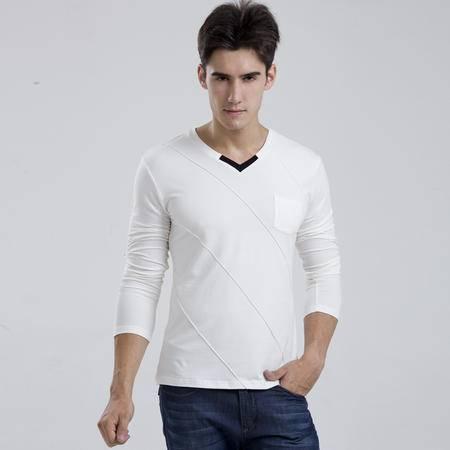 格斯帝尼 GESSDIMER 秋季新款V领纯色男士长袖T恤修身薄T恤Y23336
