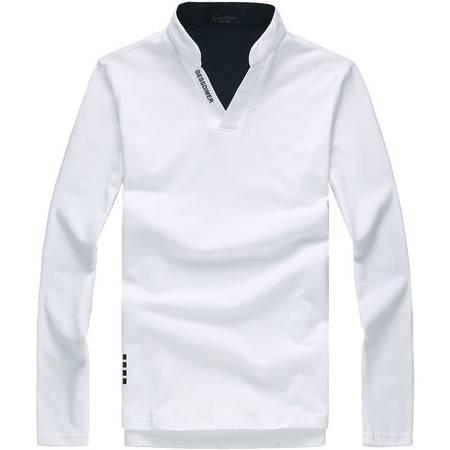 格斯帝尼春装新款男士韩版V立领修身长袖T恤全棉POLO衫T23335