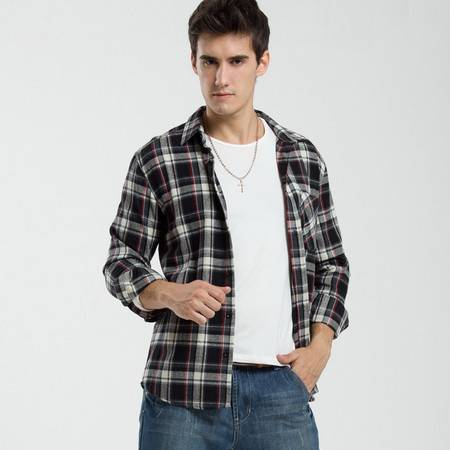 格斯帝尼 GESSDIMER 2016秋季新款男装长袖英伦磨毛格子衬衫休闲衬衫Y23338