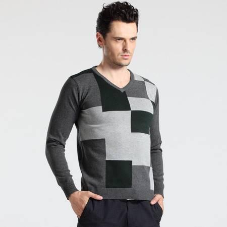 格斯帝尼 GESSDIMER 2016秋装新款时尚休闲男士长袖修身V领针织衫YLS0012