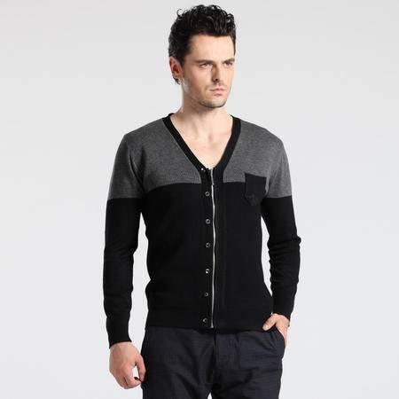 格斯帝尼 GESSDIMER 2016秋装新款时尚休闲男士长袖开衫修身V领针织衫YLS0001