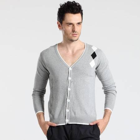 格斯帝尼 GESSDIMER 2016春装新款时尚休闲男士长袖修身V领针织衫开衫YLS0005
