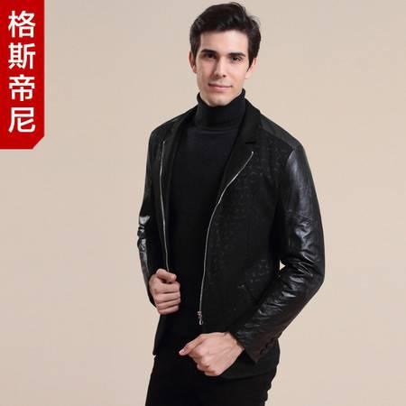 GESSDIMER 格斯帝尼冬装新款男士时尚高端真皮外套YL22203