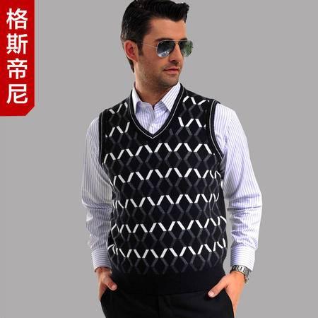 格斯帝尼(GESSDIMER)春款 男士休闲羊毛背心 针织背心YLW23502