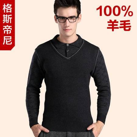 GESSDIMER 格斯帝尼冬装新款男士时尚休闲长袖加厚假两件羊毛衫YLQY038