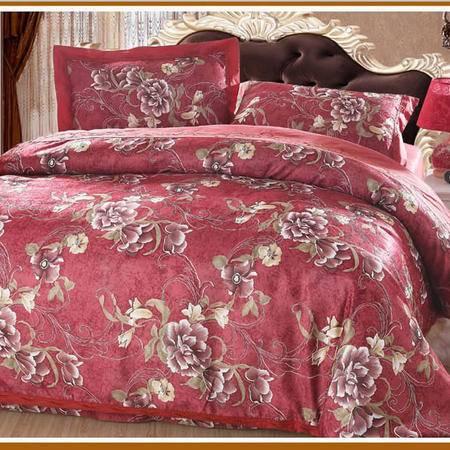 家居舒 床上用品 绣花加印花 全棉镂空四件套