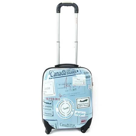 至新 (Newest) 8202蓝印花 18寸ABS+PC万向轮拉杆箱 TSA海关密码锁