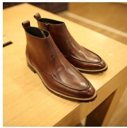MR.benyou英伦冬季男士擦色系带头层牛皮短靴298/126-6