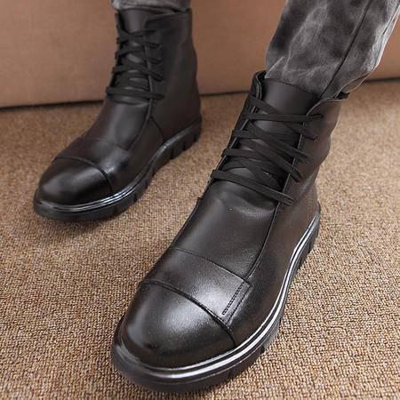 MR.benyou男靴子保暖棉鞋潮流男冬季休闲雪地靴真皮靴中筒靴子KH9