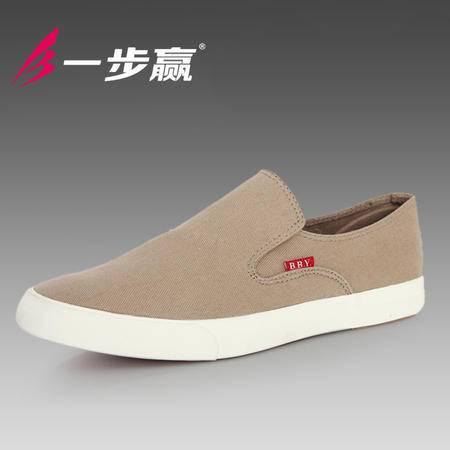 一步赢帆布鞋男纯色简约男鞋子布鞋潮流男士休闲帆板鞋男生懒人鞋