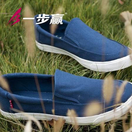 一步赢英伦男款韩版潮鞋休闲低帮帆布鞋子男士懒人鞋低帮鞋子单鞋3005