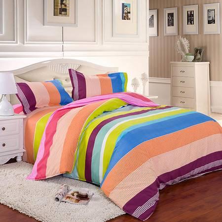 米方钻石绒四件套 彩虹天堂 柔软舒适 保暖耐磨 冬季保暖优品