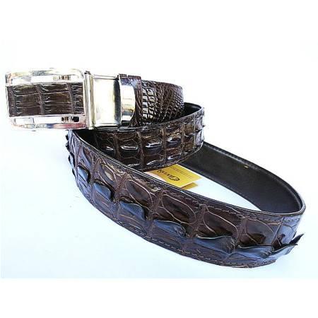 男士自动扣皮带-极品泰国老鳄鱼皮带-双脊背鳄鱼皮腰带(咖啡色)