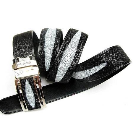3.6CM男式腰带-泰国珍珠鱼皮腰带-中宽型三花大珠极品(自动扣)